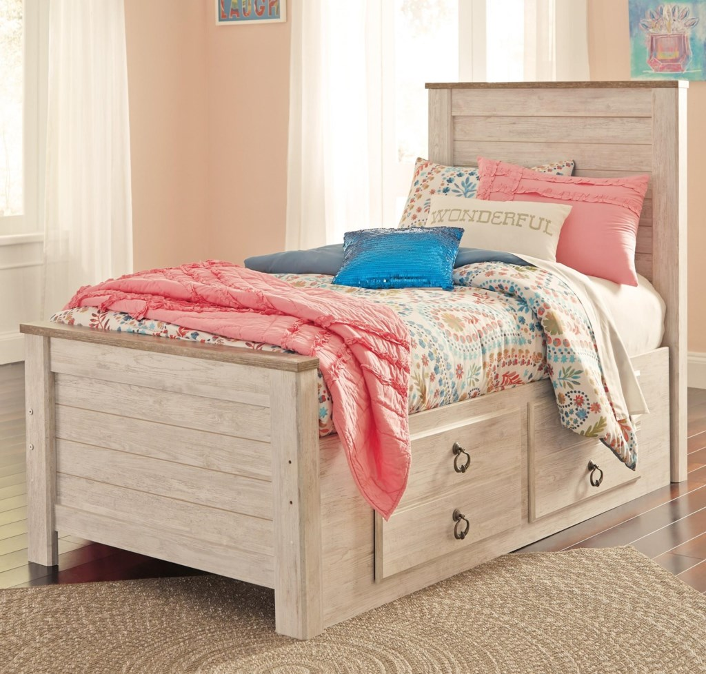 Signature Design By Ashley Willowton Twin Bed With Underbed Storage
