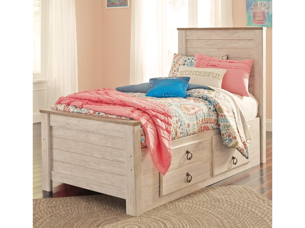 Signature design by ashley willowtontwin bed with underbed storage drawers