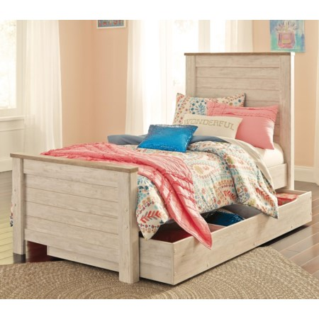 Twin Panel Bed with Under Bed Storage