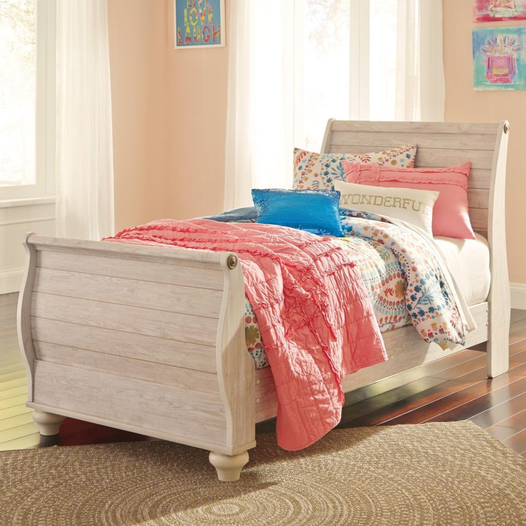 signature designashley willowton twin sleigh bed in washed