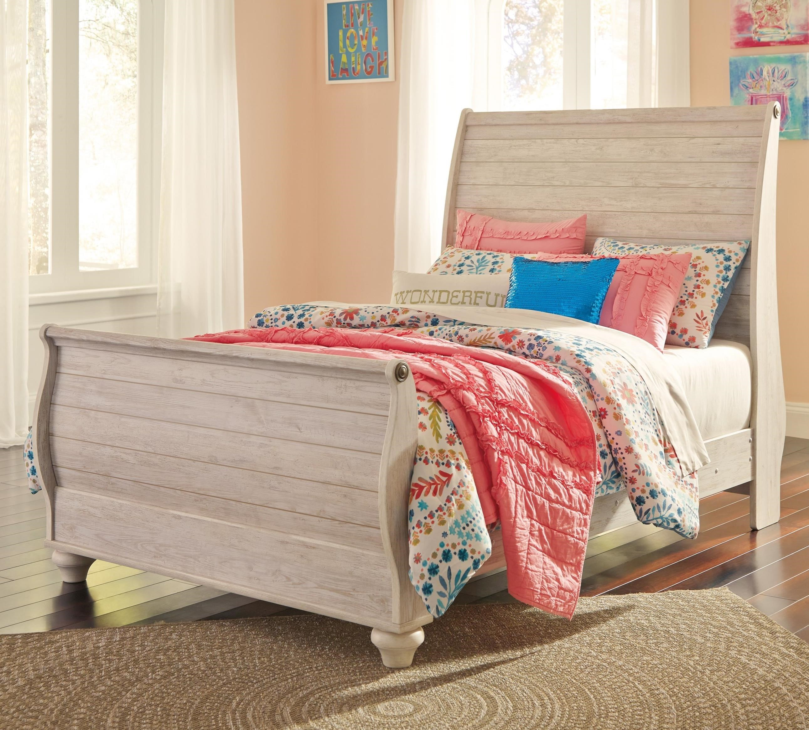 signature designashley willowton full sleigh bed in washed