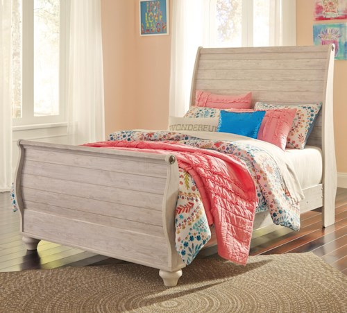Signature Design by Ashley Willowton Full Sleigh Bed in Washed White Finish