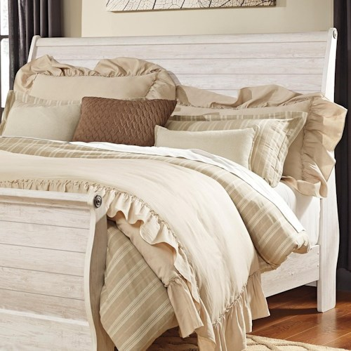 Signature Design by Ashley Willowton King Sleigh Headboard in Washed Rustic Finish