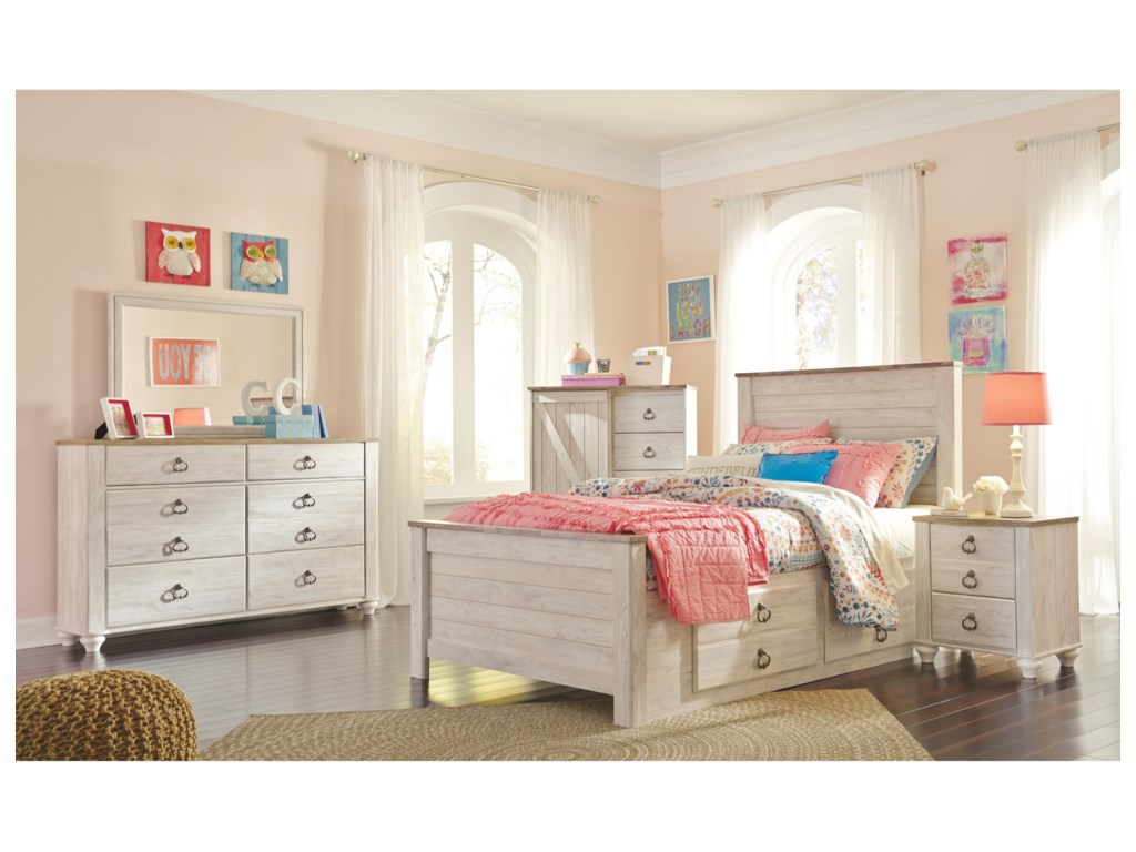 Signature Design by Ashley JoannaFull Bed with Underbed Storage Drawers