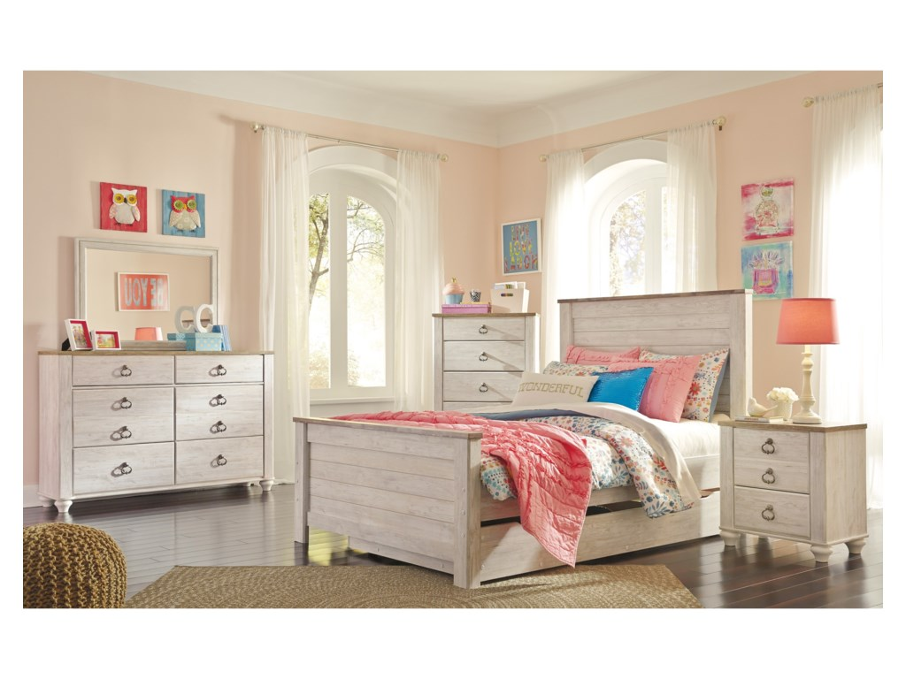 Signature Design by Ashley WillowtonFull Panel Bed with Under Bed Storage