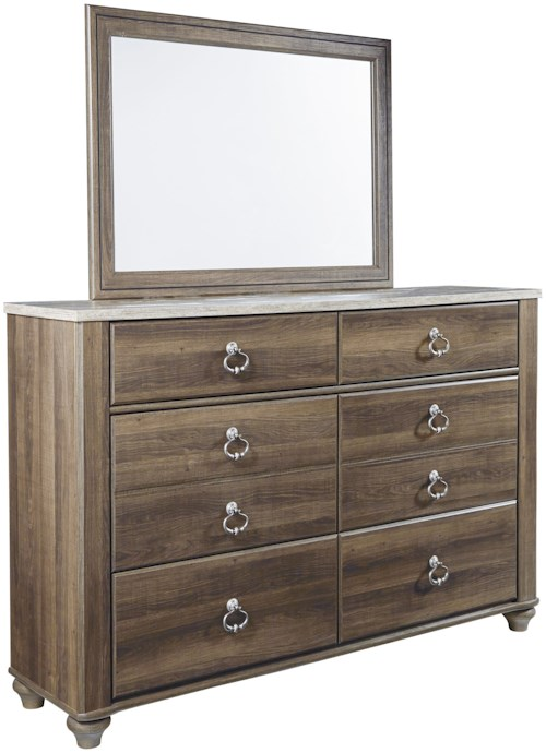 Signature Design by Ashley Birmington 6 Drawer Dresser with Rustic Look Top & Mirror
