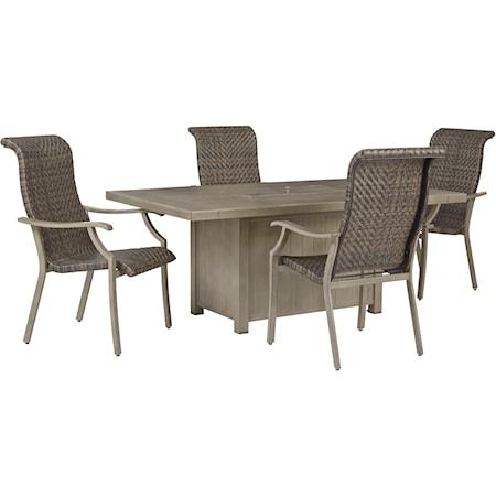 5-Piece Rectangular Fire Pit Table Set