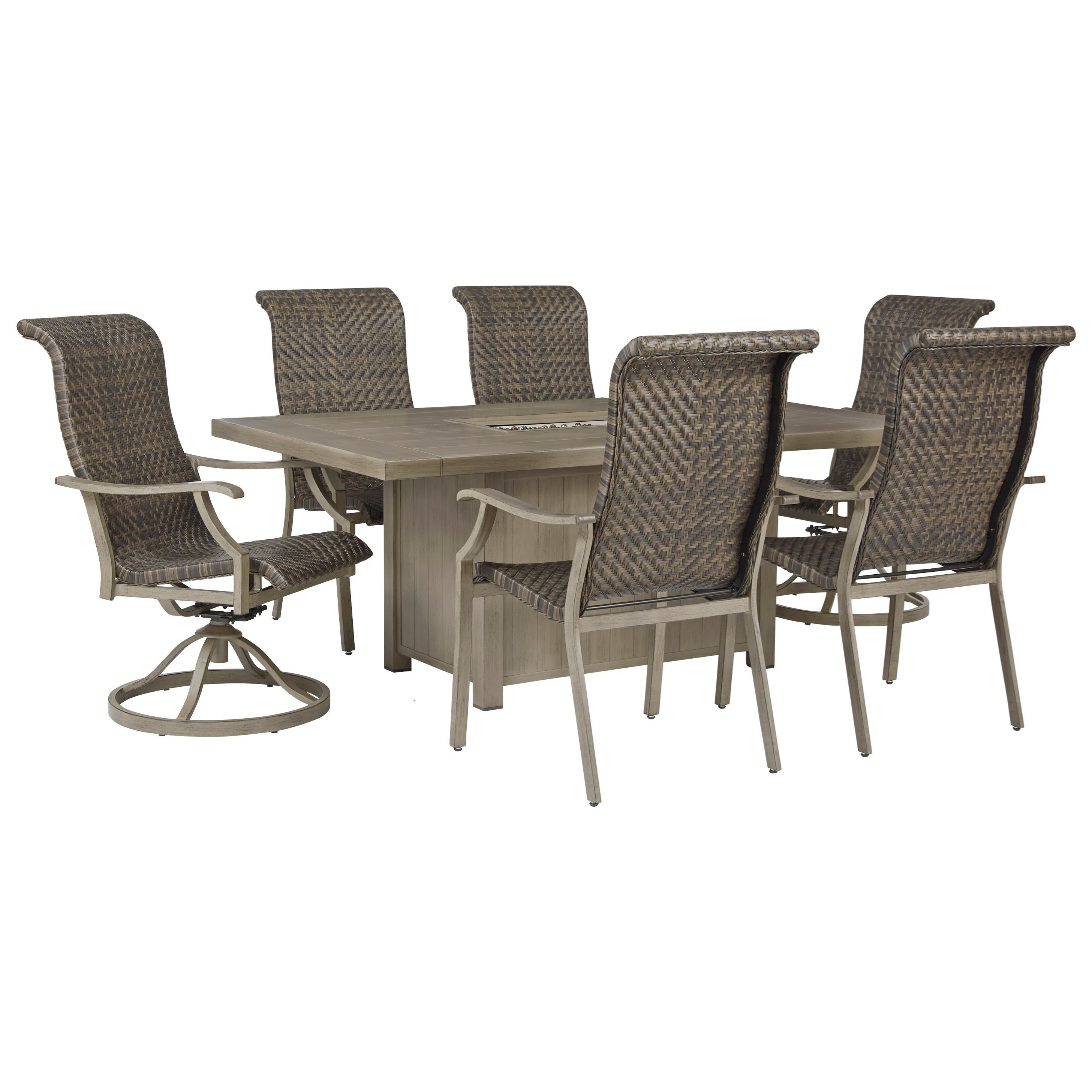 Picture of: Signature Design By Ashley Windon Barn 7 Piece Rectangular Fire Pit Table Set Wayside Furniture Outdoor Dining Sets