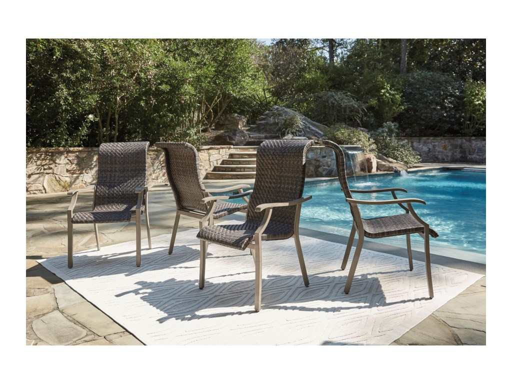 Signature Design by Ashley Windon Barn7-Piece Rectangular Fire Pit Table Set