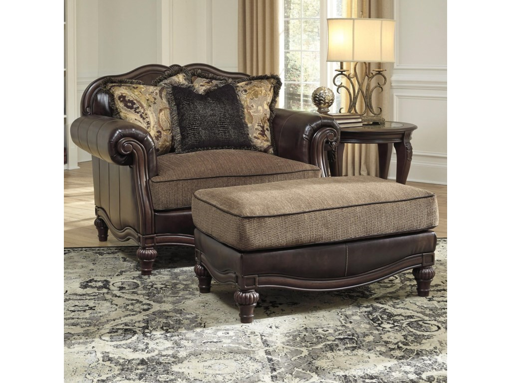 Signature Design by Ashley Winnsboro DuraBlendChair and a Half & Ottoman