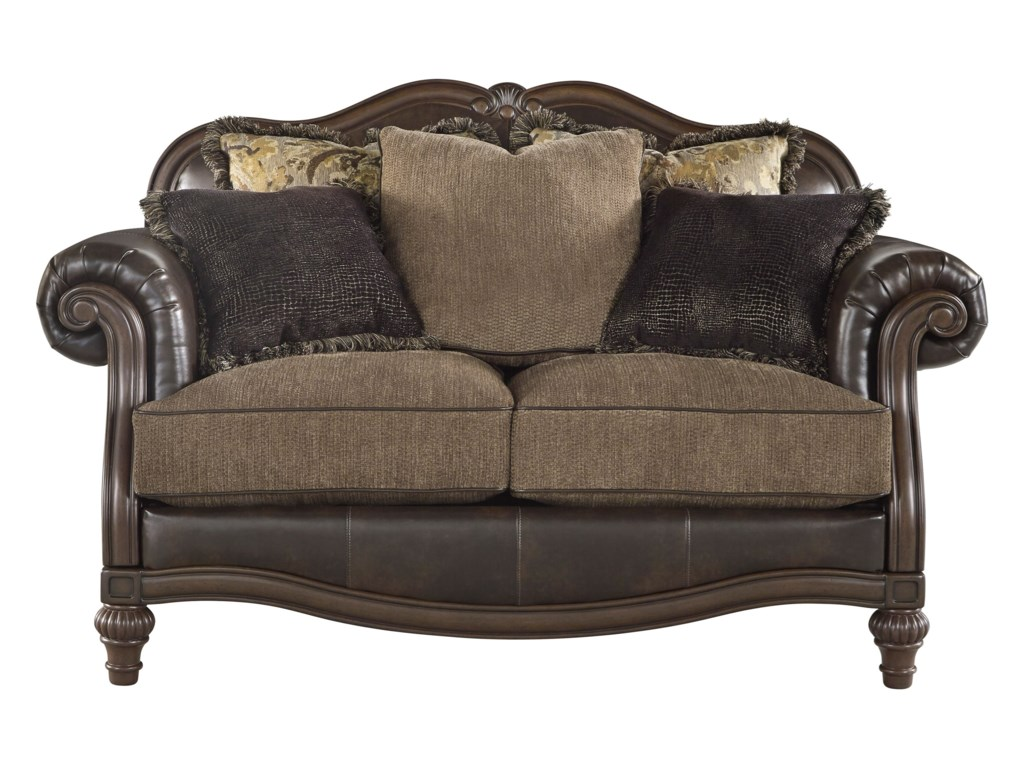 Winnsboro Durablend Traditional Fabric Bonded Leather Match Loveseat By Ashley Signature Design