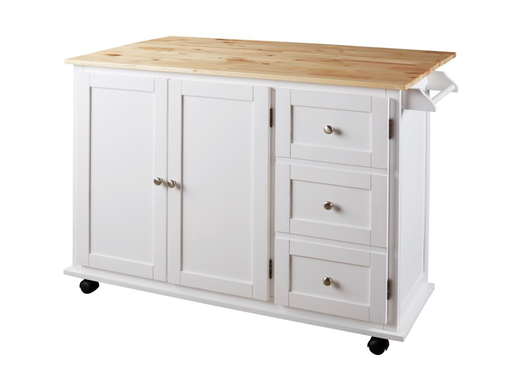 Withurst Two Tone Kitchen Cart With Casters And Drop Leaf