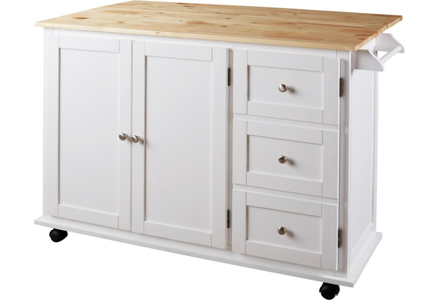 Withurst Two-Tone Kitchen Cart with Casters and Drop Leaf by Benchcraft at  Virginia Furniture Market