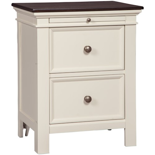 74512cfddcc8 Signature Design by Ashley Woodanville Two Drawer Night Stand with Pull Out  Tray