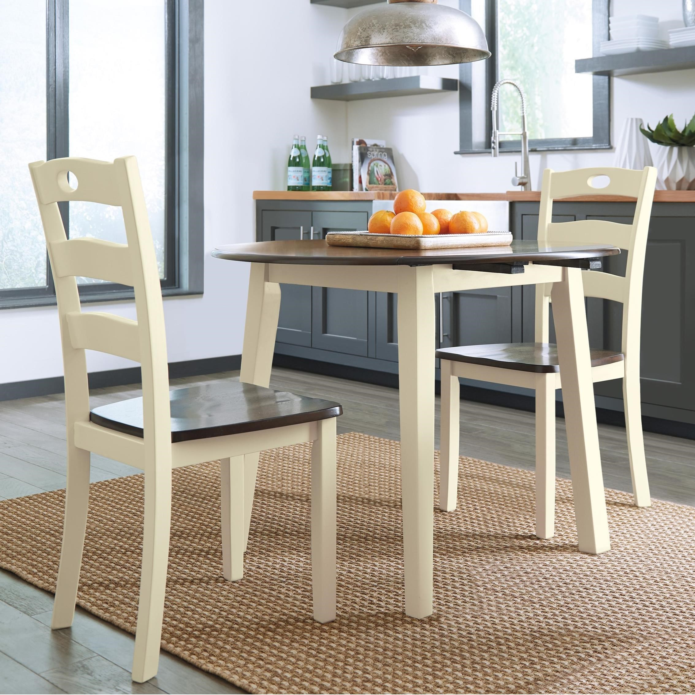 Signature Design By Ashley Woodanville3 Piece Round Drop Leaf Table Set ...