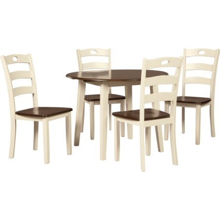 5-Piece Round Drop Leaf Table Set