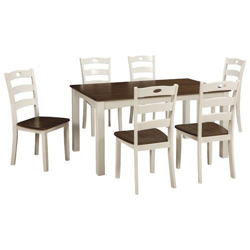Signature Design By Ashley White Acres Two Tone Finish 7 Piece Dining Room Table