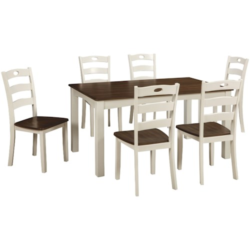 Signature Design by Ashley Woodanville Two-Tone Finish 7-Piece Dining Room Table Set