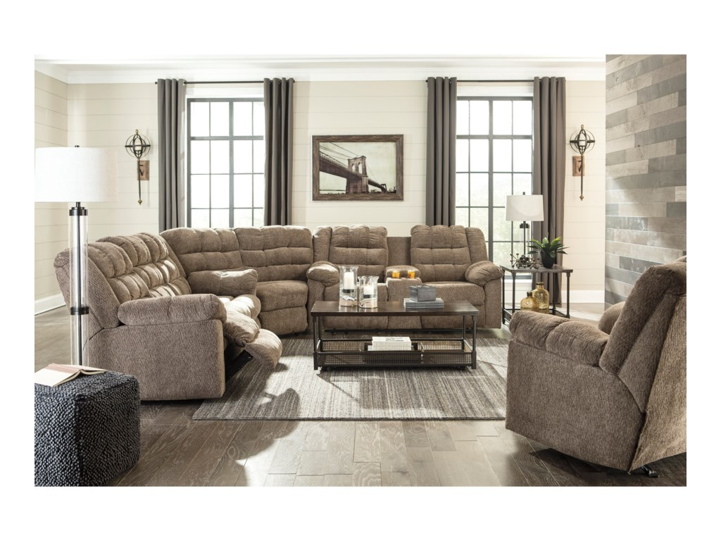 Signature Design by Ashley Workhorse Reclining Living Room Group ...