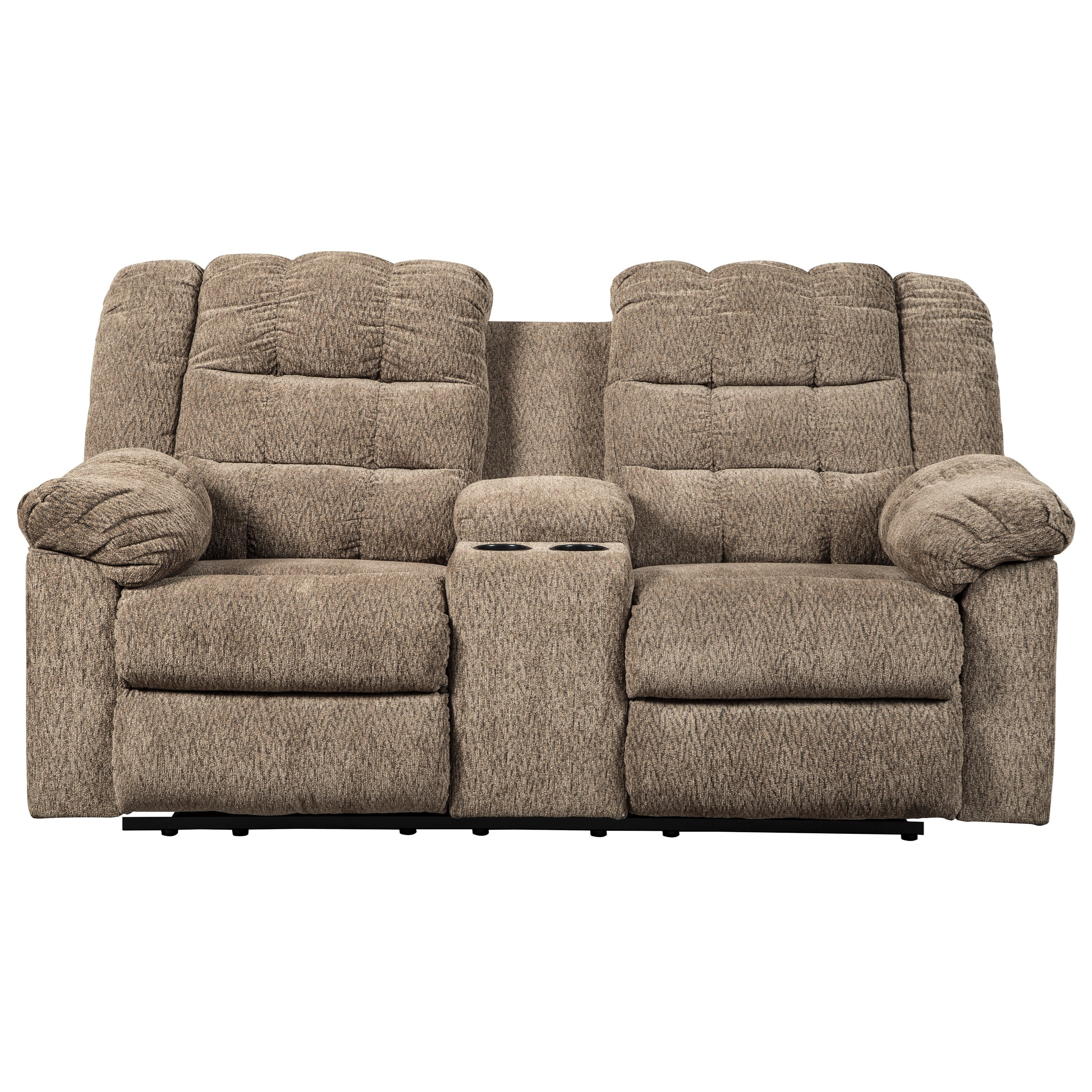Picture of: Signature Design By Ashley Workhorse Casual Double Reclining Loveseat W Console 2 Cup Holders Royal Furniture Reclining Loveseats