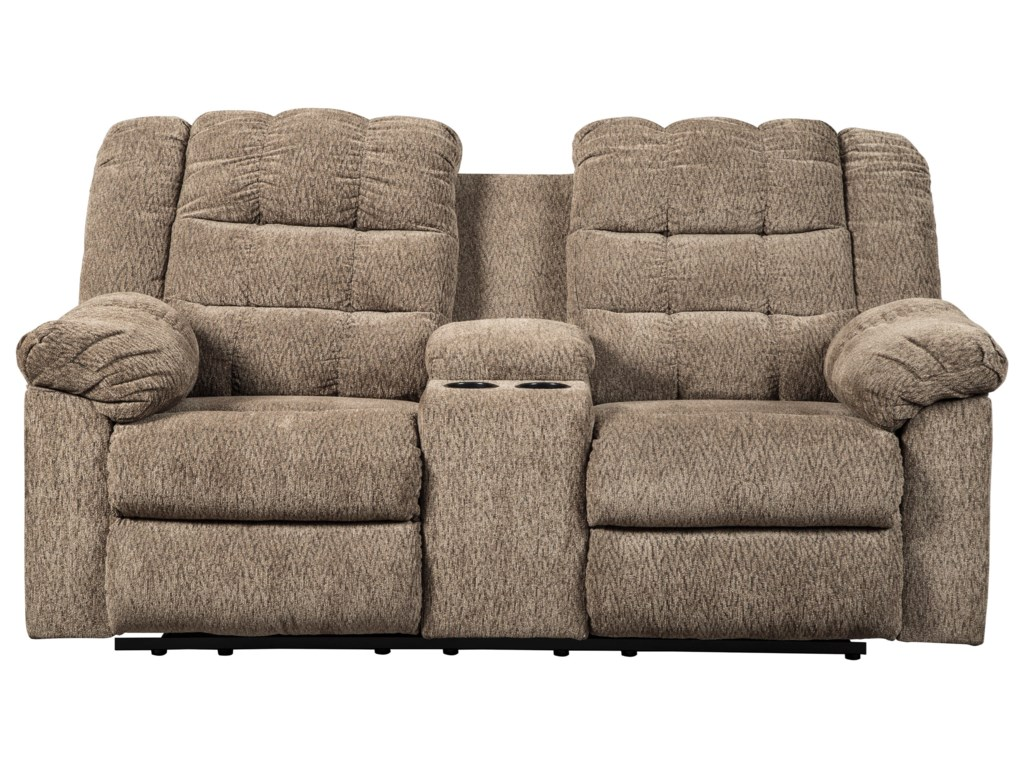 with cupholders holders w loveseat leather sofa bonded and shop set reclining naples console brown cup