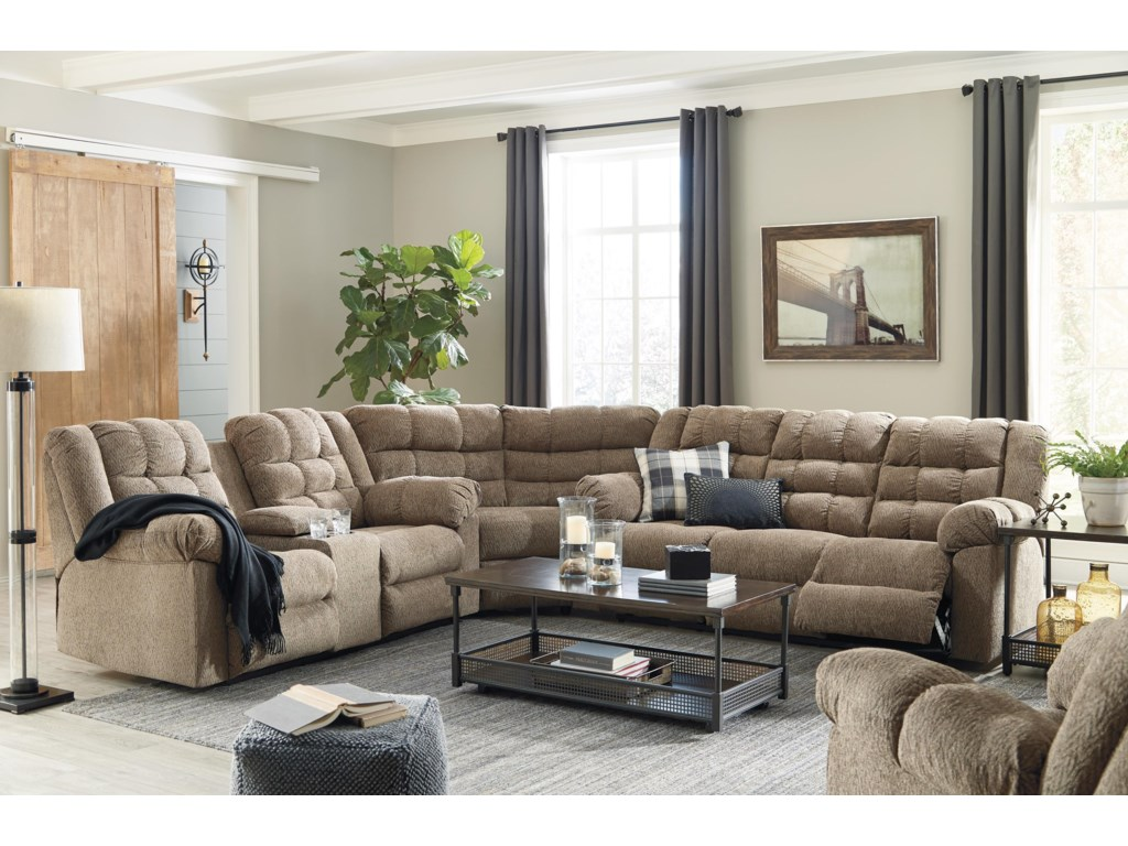Workhorse 3 PC Reclining Sectional and Recliner Set