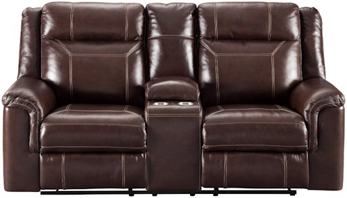 Signature Design by Ashley Wyline Power Reclining Loveseat with Adjustable Headrest and Center Console