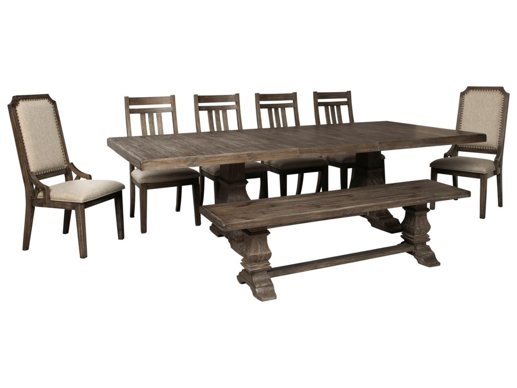 Signature Design By Ashley Wyndahl 8 Piece Dining Table Set With Bench Sam Levitz Furniture Table Chair Set With Bench