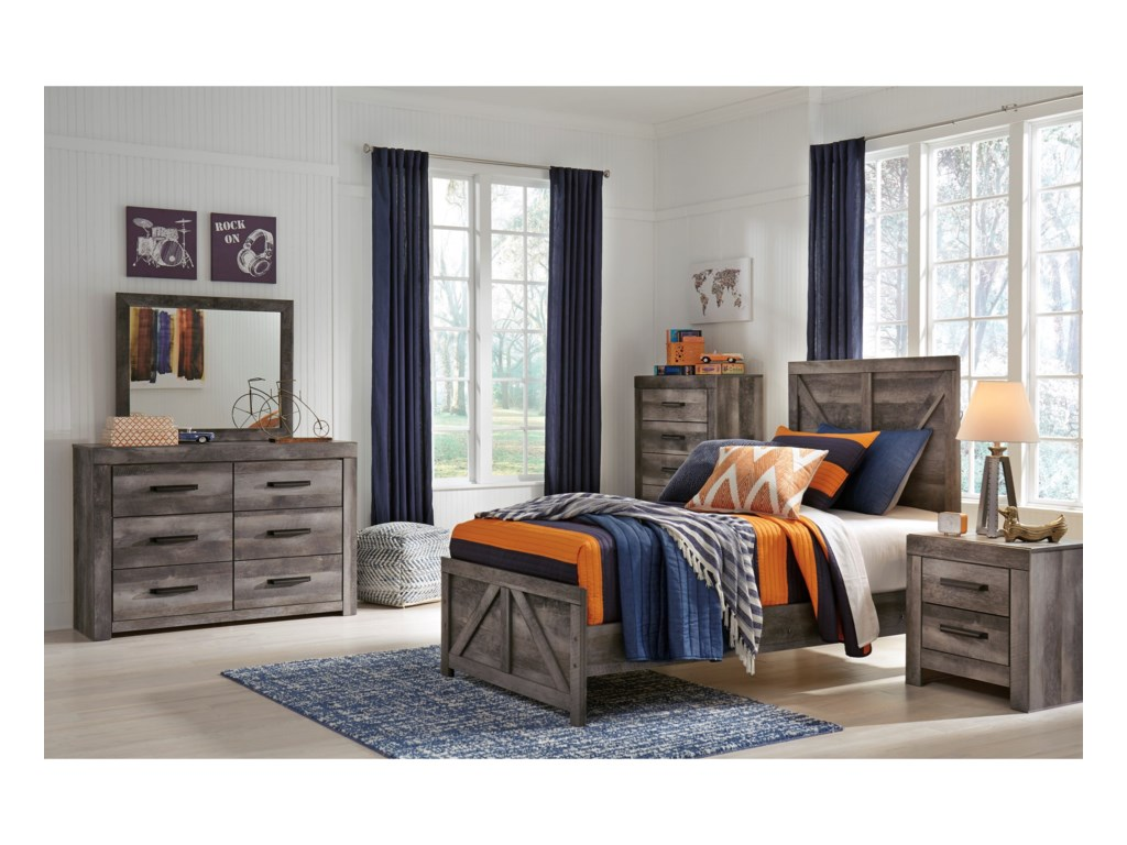Signature Design by Ashley WynnlowTwin Crossbuck Panel Bed