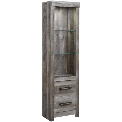 Signature Design by Ashley Wynnlow Pier with Glass Shelves & Built-In Light in Rustic Gray Finish