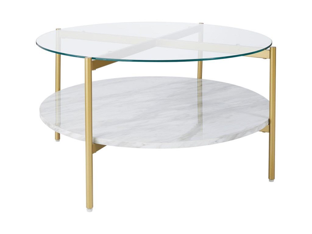 Signature Design By Ashley Wynora Gold Finish Round Cocktail Table With Glass Top And Faux Marble Shelf Royal Furniture Cocktail Coffee Tables