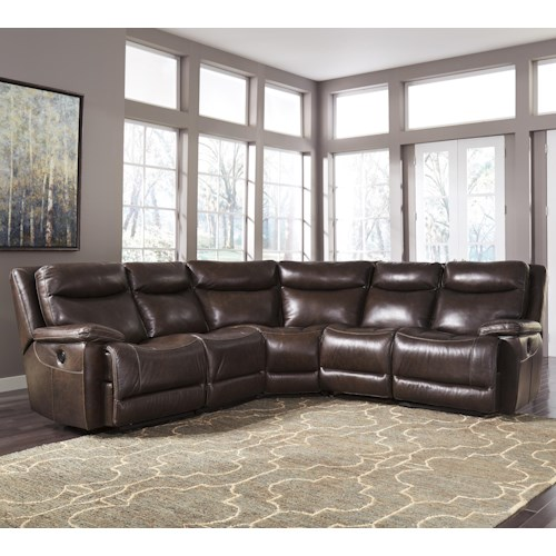 Signature Design By Ashley Zaiden Contemporary Leather Match Reclining Sectional Knight