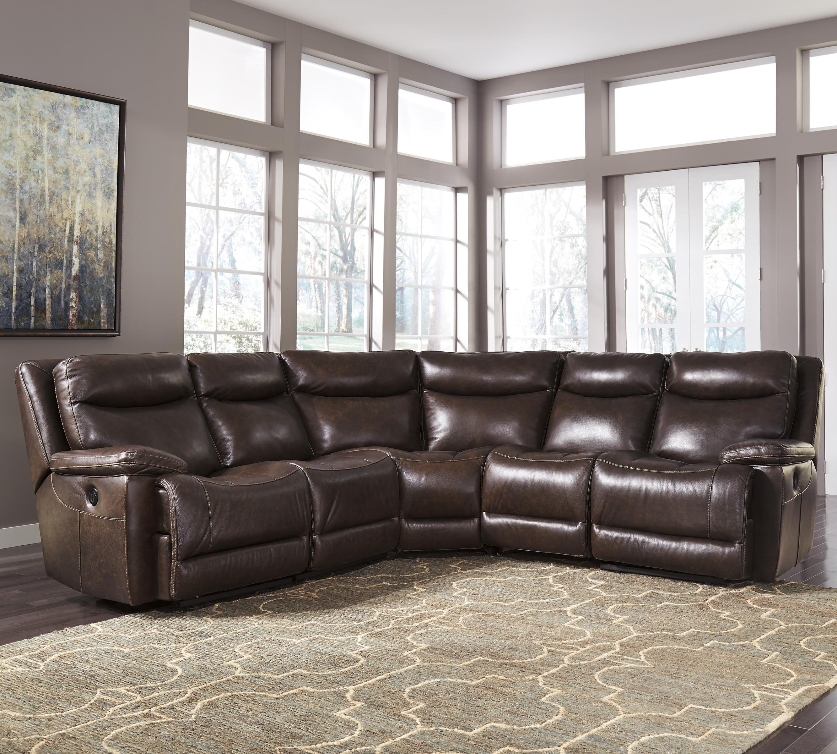 Signature Design by Ashley Zaiden Contemporary Leather Match Power Reclining Sectional : reclining sectional leather - Sectionals, Sofas & Couches