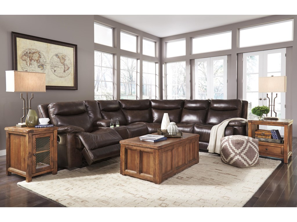Ashley (Signature Design) ZaidenPower Reclining Sectional with Console