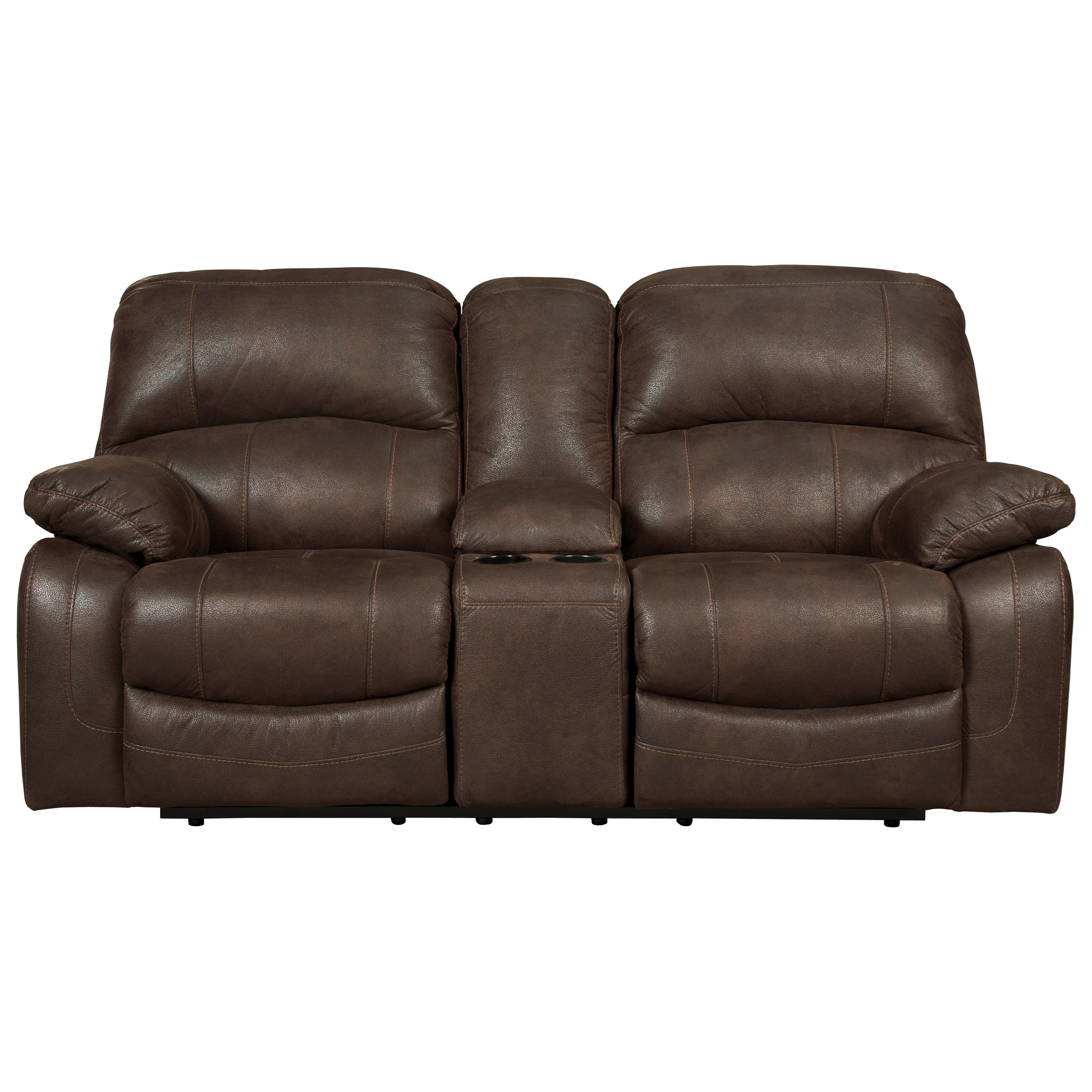 Signature Design by Ashley Zavier Glider Reclining Power Loveseat w/ Console in Brown Faux Leather  sc 1 st  Wayside Furniture & Signature Design by Ashley Zavier Glider Reclining Power Loveseat ... islam-shia.org