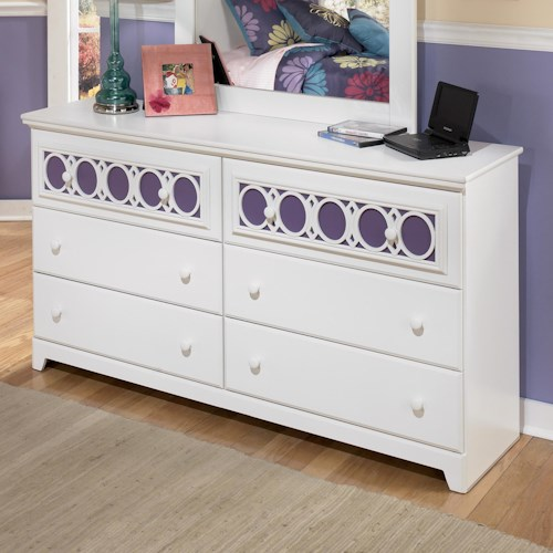 Signature Design by Ashley Zayley 6-Drawer Dresser with Customizable Color Panels