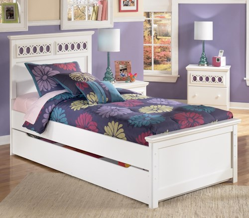 Signature Design by Ashley Zayley Twin Platform Bed with Trundle Storage Box & Customizable Color Panels