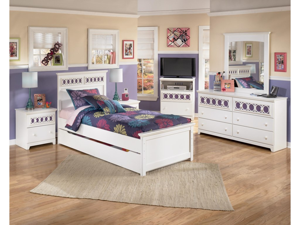 Shown with Night Stand, Twin Panel Bed, Media Chest, Dresser, and Mirror