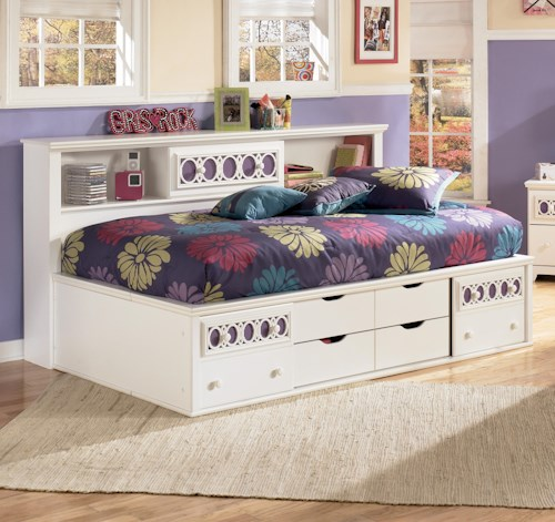 Signature Design by Ashley Zayley Twin Bedside Bookcase Daybed with Customizable Color Panels