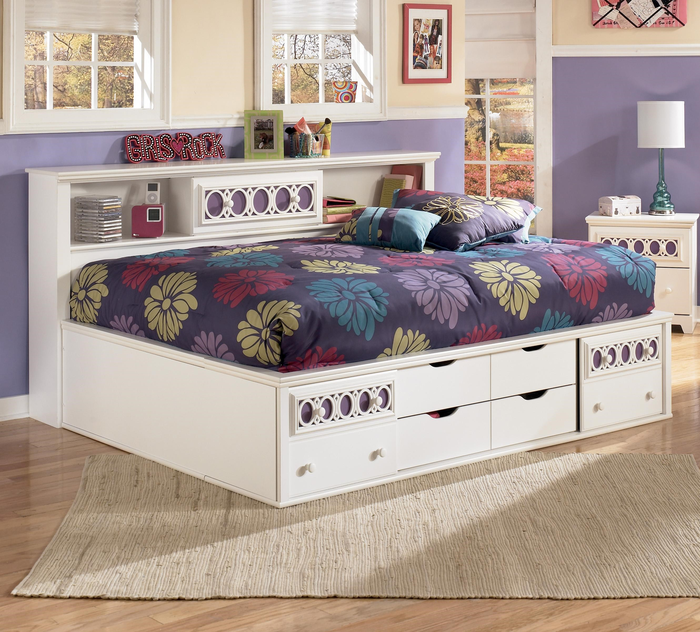 Zayley Full Bedside Bookcase Daybed With Customizable Color Panels By Signature Design By Ashley At Miller Home