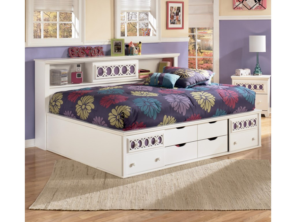 Home bedroom furniture captains beds zoey full bedside bookcase daybed signature design by ashley zoeyfull bedside bookcase daybed