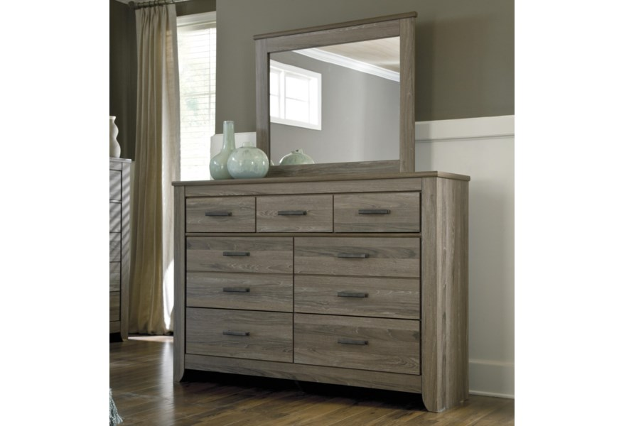 Zelen Rustic Tall Dresser & Bedroom Mirror by Signature Design by Ashley at  Prime Brothers Furniture