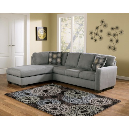 Signature Design by Ashley Furniture Zella - Charcoal Contemporary Sectional Sofa with Left Arm Facing Chaise