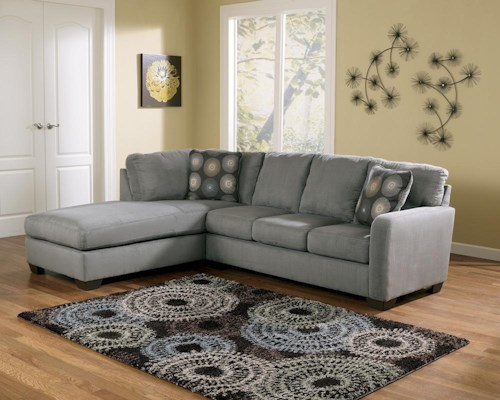 Signature Design by Ashley Zella - Charcoal Contemporary Sectional Sofa with Left Arm Facing Chaise