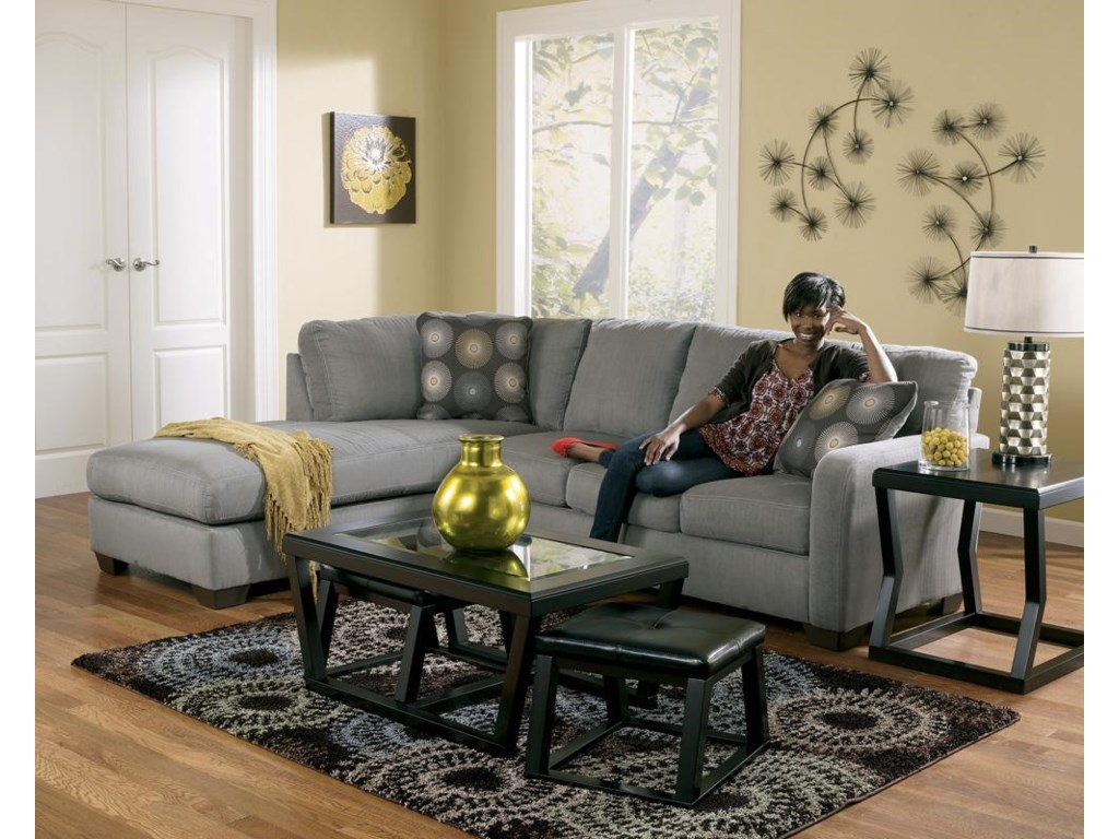 Signature Design by Ashley Zella - CharcoalSectional Sofa with Left Arm Facing Chaise