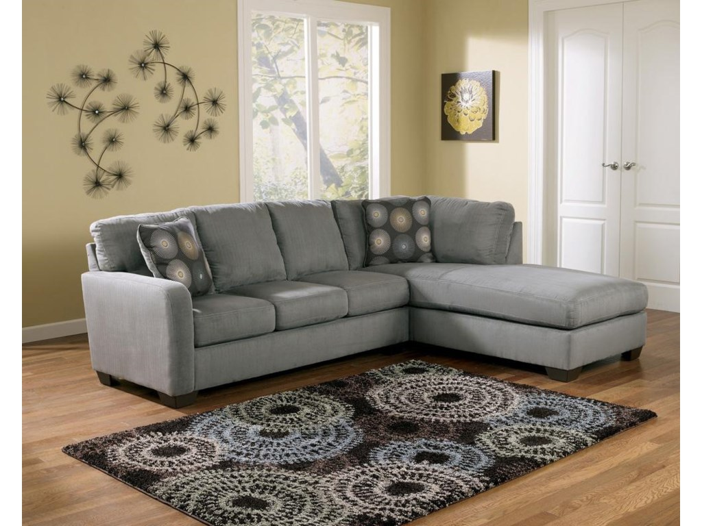 Ashley Signature Design Zella Charcoalsectional Sofa With Right Arm Facing Chaise