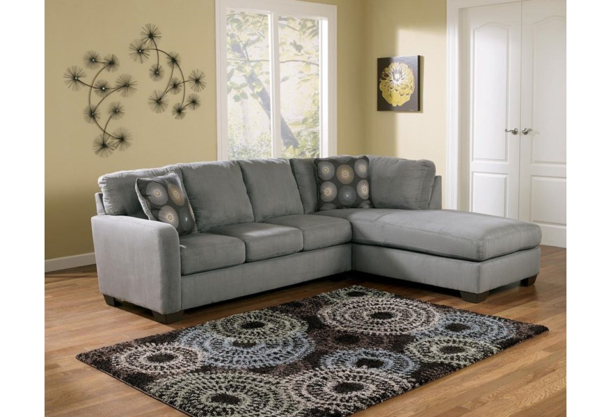 Zella - Charcoal Sectional Sofa with Right Arm Facing Chaise
