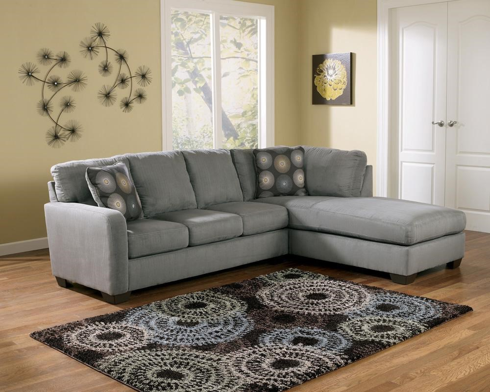 Signature Design by Ashley Zella - Charcoal Contemporary Sectional Sofa with Right Arm Facing Chaise - Miskelly Furniture - Sofa Sectional : right arm facing chaise - Sectionals, Sofas & Couches