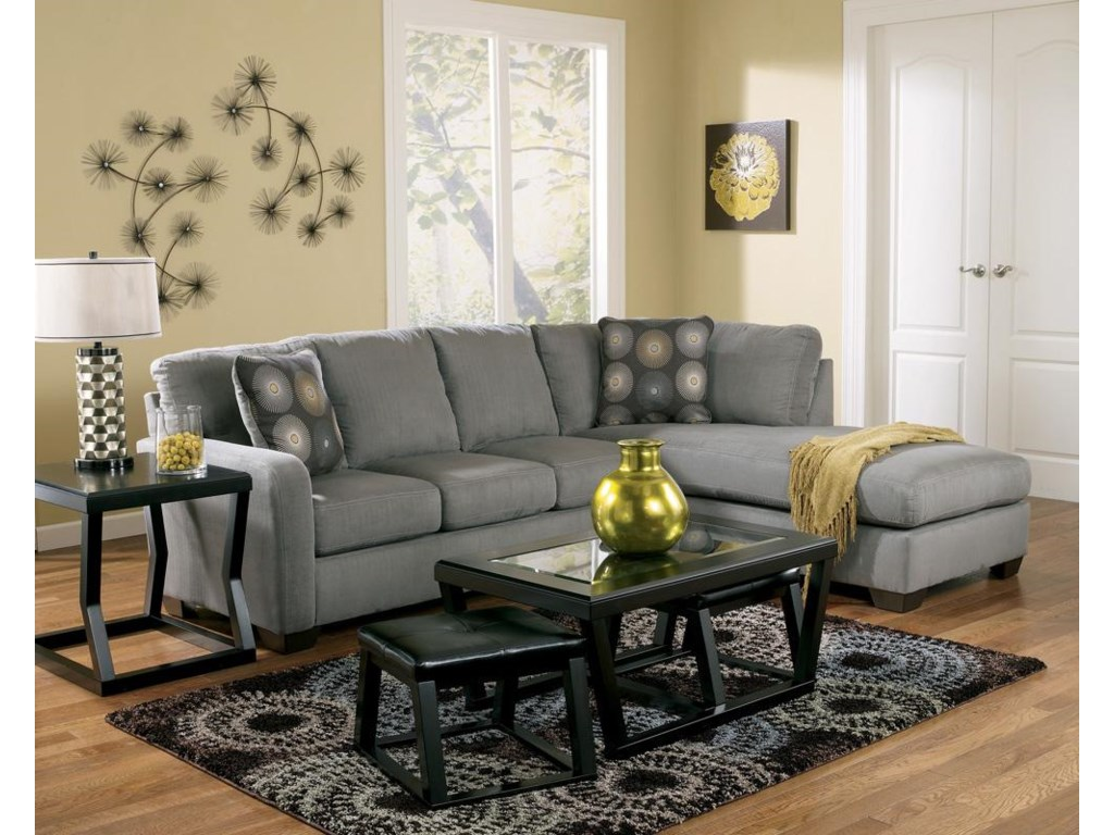 Signature Design by Ashley Zella - CharcoalSectional Sofa with Right Arm Facing Chaise