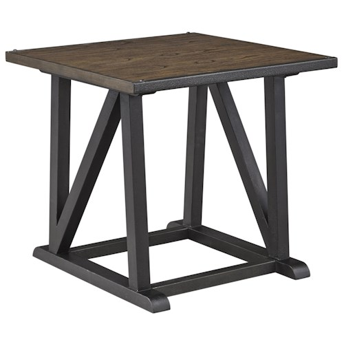 Signature Design by Ashley Zenfield Wood/Metal Square End Table